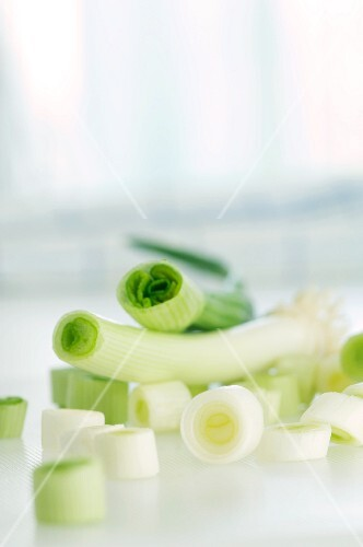 Spring onions, whole and sliced