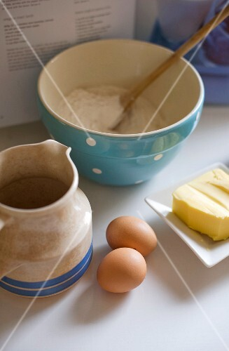 Ingredients for pastry: eggs, flour and butter