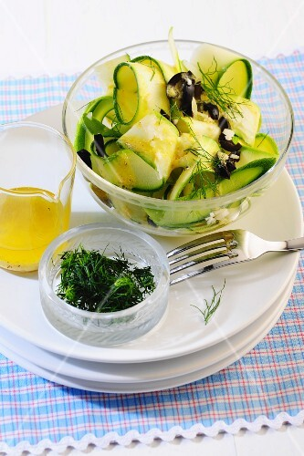 Courgette salad with dill vinaigrette and olives