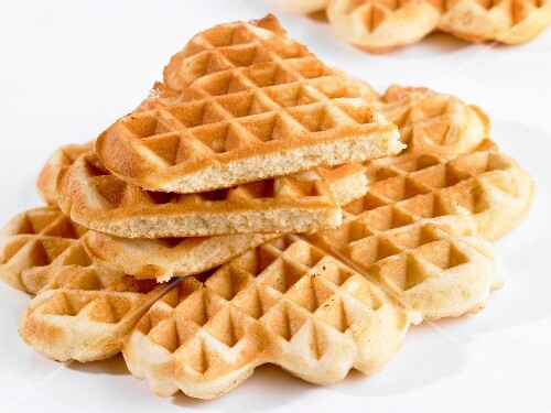 A stack of heart-shaped waffles