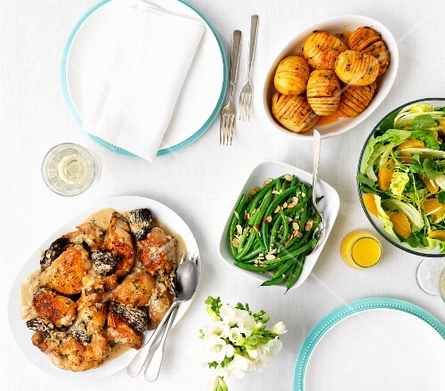 Chicken with morel mushrooms, green beans, potatoes and orange salad