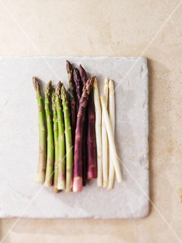 Green, purple and white asparagus
