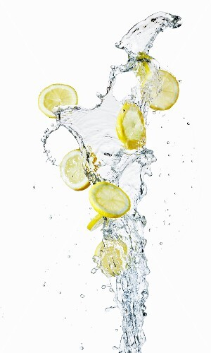 Lemon slices and a splash of water