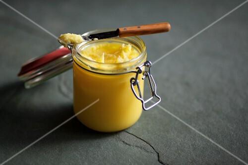 A jar of ghee (Indian clarified butter)