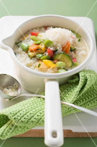 Risotto estate (risotto with summer vegetables, Italy)