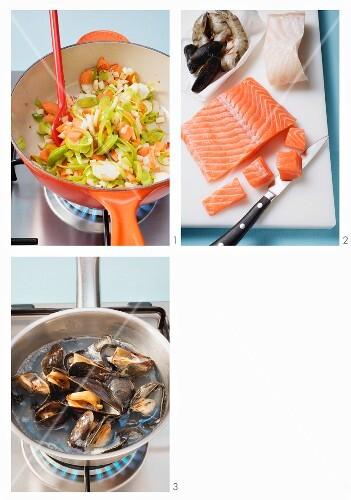 Seafood stew being prepared