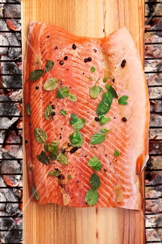Grilled salmon with Sichuan pepper