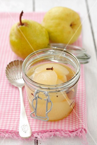 A jar of pear compote