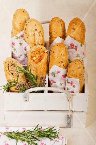 Baguette sandwiches for a picnic