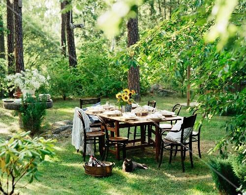 gedeckter tisch im garten bild kaufen 11007915 stockfood. Black Bedroom Furniture Sets. Home Design Ideas
