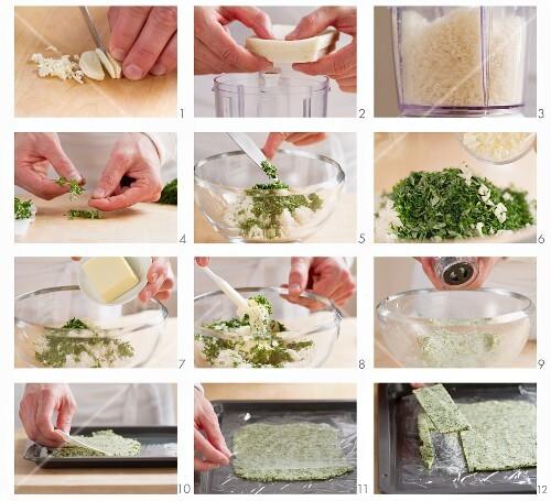 Preparing a herb crust