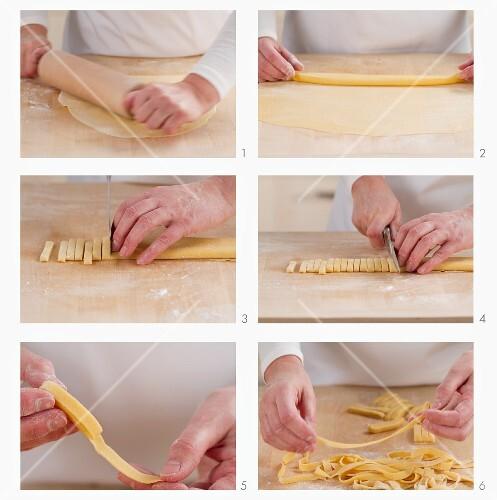 Cutting tagliatelle by hand