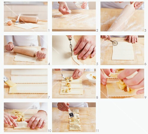 Preparing puff pastry parcels with apple filling