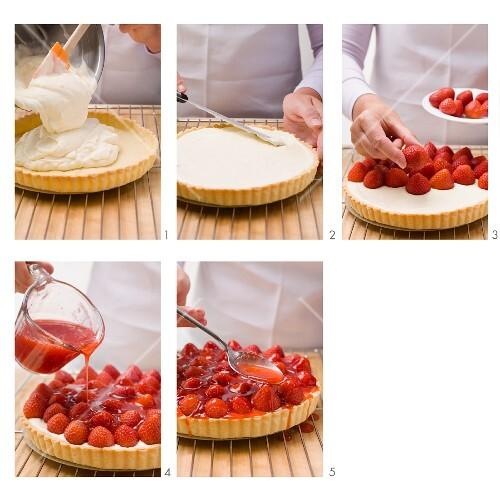 Preparing strawberry tart