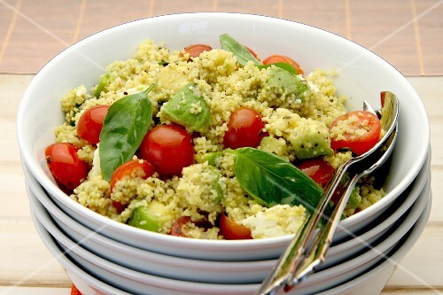 Couscous salad with avocado, tomato and feta