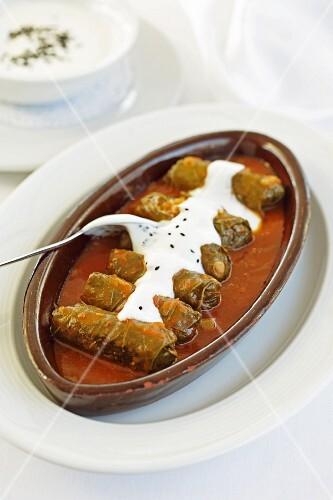 Stuffed vine leaves with yoghurt sauce (Turkish)