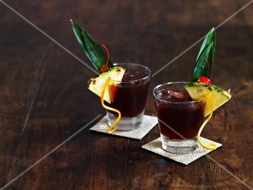 Two Mai Tai cocktails
