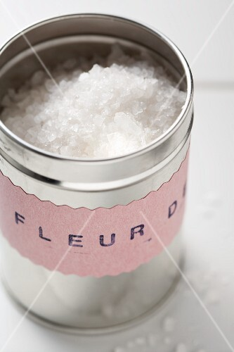 Fleur de Sel (sea salt) in spice box