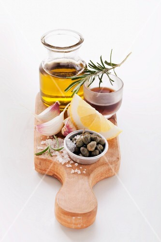Ingredients for rosemary and lemon marinade