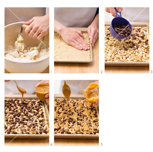 Preparing peanut and toffee bars with chocolate chips