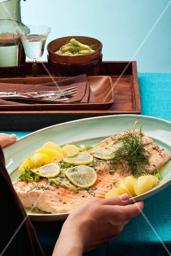 Irish herb salmon being served