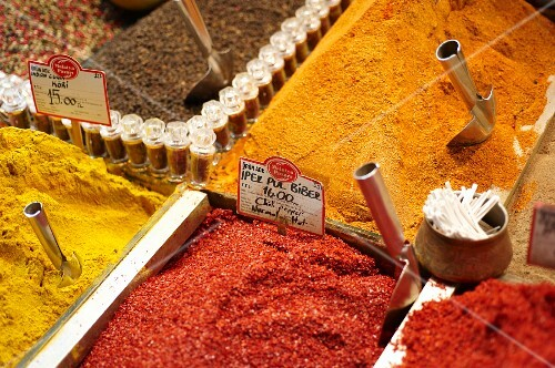 Various spices on a Turkish market