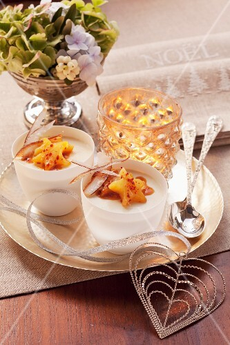 Coconut cream with caramelized pineapples