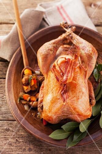 Roast baby turkey with rashers of bacon