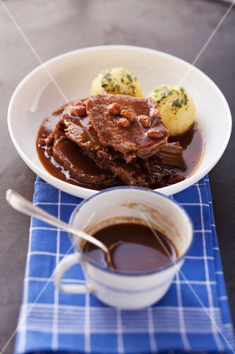 Rhineland-style marinated pot roast with gingerbread sauce