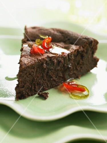 A slice of chilli chocolate cake