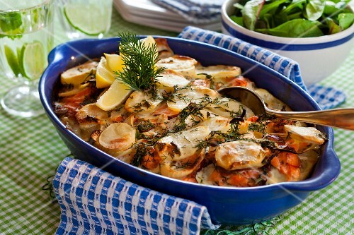 Salmon and potato bake