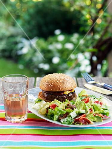 Bacon and tomato salad with hamburger