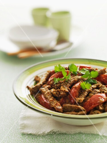 Beef curry with peppers