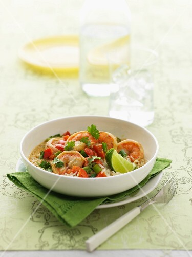Prawn curry with rice