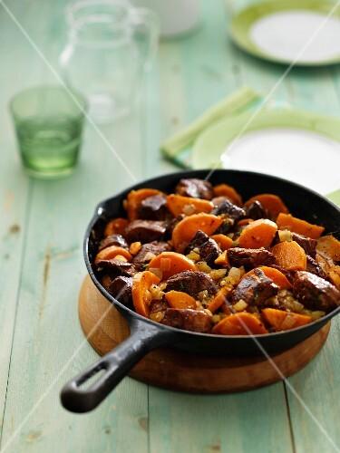 Pork and sweet potato stir fry