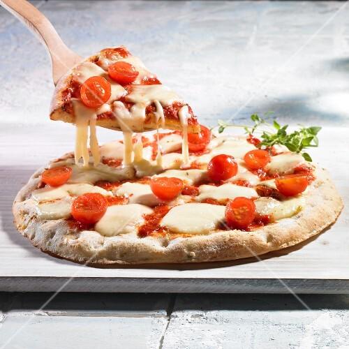 Pizza Margherita with tomato and mozzarella