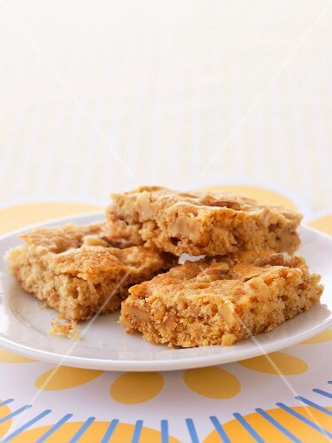 A plate of blondies