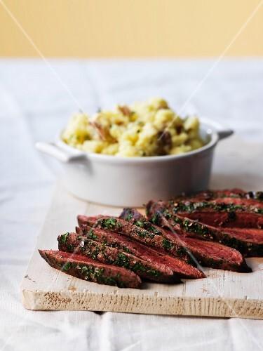 Flat iron steak, sliced