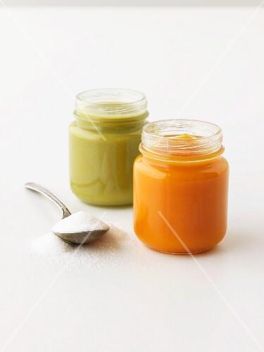 Two jars of vegetable puree