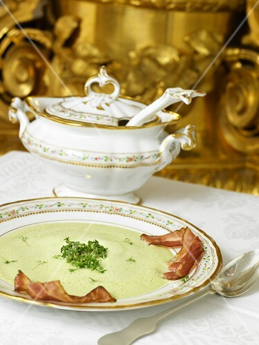 Cucumber soup with bacon and cress