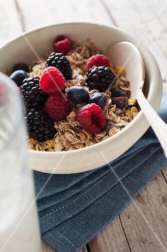 Oats, berries and milk