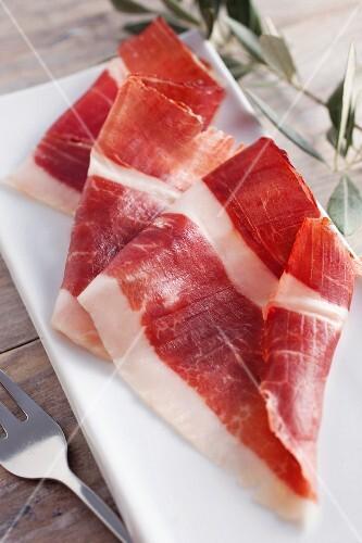 Slices of bellota ham (Spain)