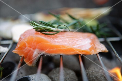 Salmon fillet with rosemary on the grill