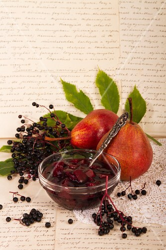 Pear and elderberry compote