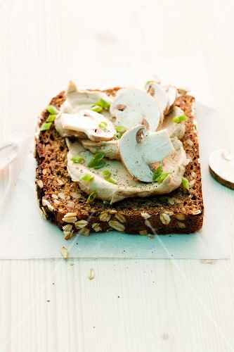 A slice of wholemeal bread topped with a mushroom spread