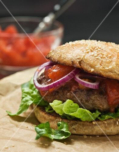 Hamburger with tomato salsa