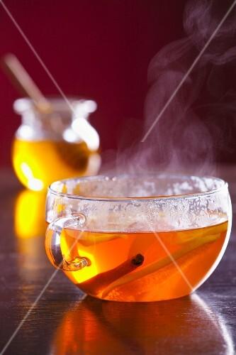 Lemon tea with cinnamon and honey