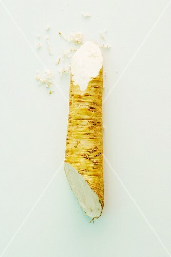 Partially Grated Horseradish Root