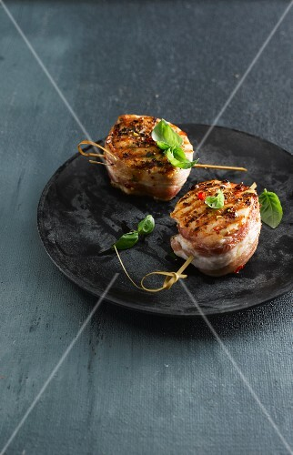 Pork medallions wrapped in bacon