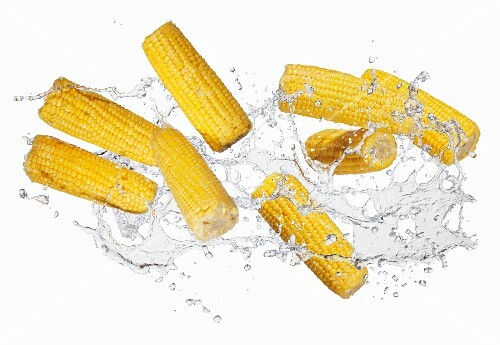 Corn on the cob with a water splash